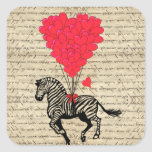 Funny vintage zebra & heart balloons square sticker
