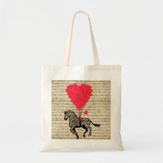 Funny vintage zebra & heart balloons tote bag