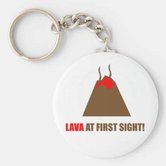 Funny Volcano Basic Round Button Key Ring