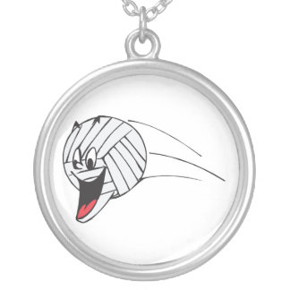 funny volleyball cartoon character in flight round pendant necklace
