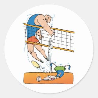 Funny Volleyball Classic Round Sticker