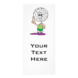 funny volleyball head cartoon character personalised rack card