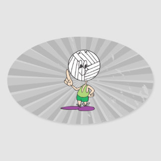 funny volleyball head cartoon character oval sticker