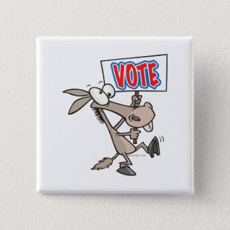 funny vote democrat donkey cartoon 15 cm square badge