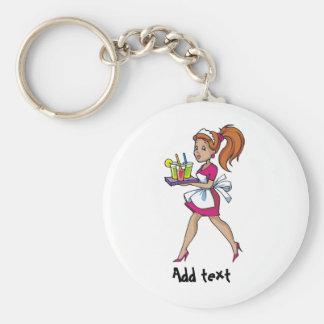 Funny waiter waitress cartoon personalized basic round button key ring
