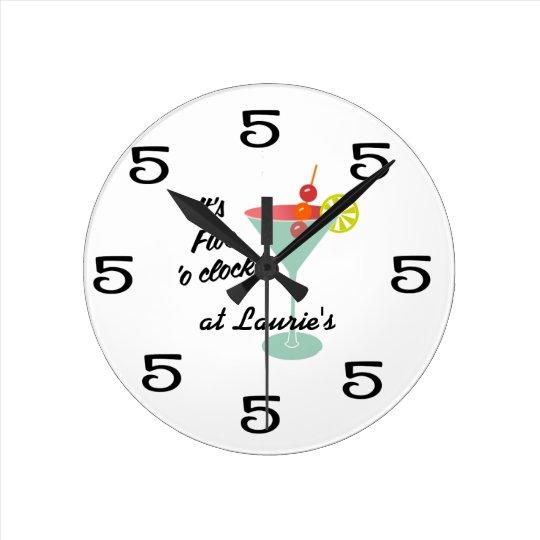 Funny Wall Clock - Martini 5 Five o'clock