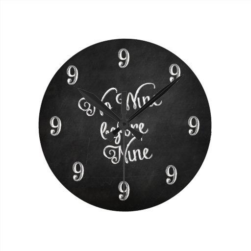 Funny Wall Clock - No Wine before Nine Chalkboard