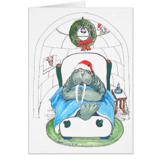 Funny Walrus and Igloo Wildlife Christmas Card