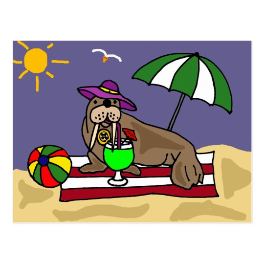 Funny Walrus at the Beach Art Postcard
