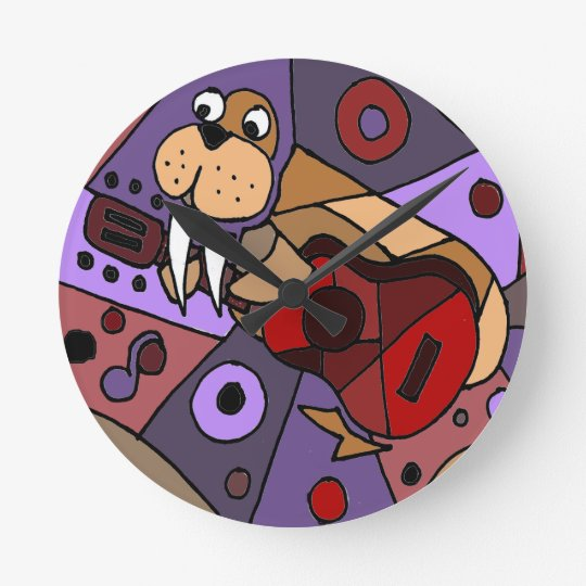Funny Walrus Playing Guitar Abstract Round Clock