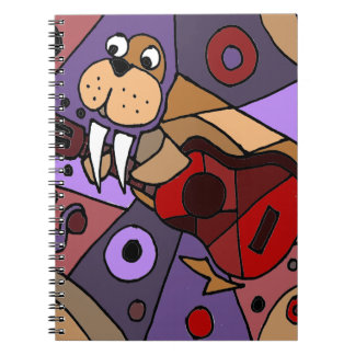 Funny Walrus Playing Guitar Abstract Spiral Notebook