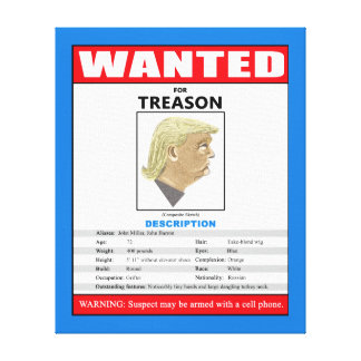 Funny Wanted Trump For Treason Canvas Print