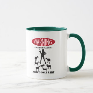 FUNNY Warning Farm Patrolled by Crazy Goat LAdy Mug