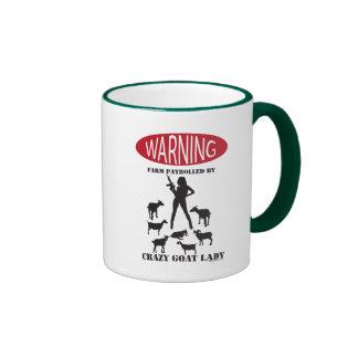 FUNNY Warning Farm Patrolled by Crazy Goat LAdy Ringer Mug