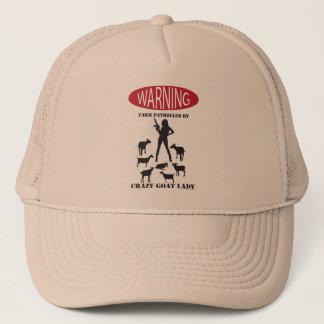 FUNNY Warning Farm Patrolled by Crazy Goat LAdy Trucker Hat