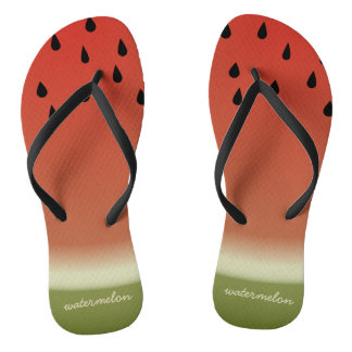 Funny Watermelon Slice Personalized Flip Flops