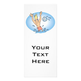 funny waterpolo dude cartoon full color rack card