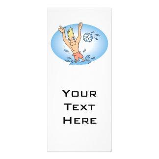 funny waterpolo dude cartoon full color rack card