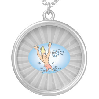 funny waterpolo dude cartoon round pendant necklace