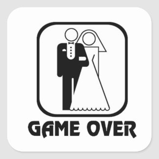 Funny wedding Game Over Square Sticker