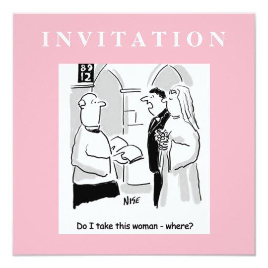 Funny Wedding Invitation. Groom and Vicar Card