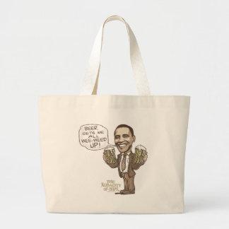 Funny Wee Weed Up Obama Beer Gear Jumbo Tote Bag