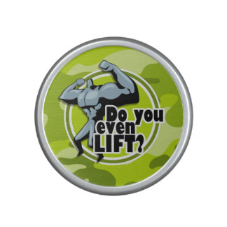 Funny Weight Lifter; bright green camo, camouflage Bluetooth Speaker