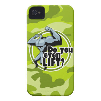 Funny Weight Lifter bright green camo camouflage iPhone 4 Covers