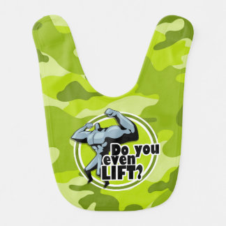 Funny Weight Lifter bright green camo camouflage Bib