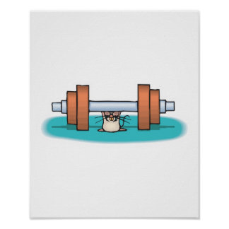 funny weightlifting mouse poster