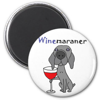 Funny Weimaraner Dog Drinking Red Wine 6 Cm Round Magnet