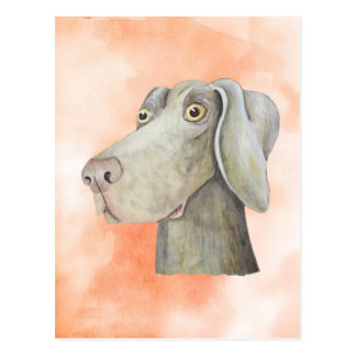 Funny weimaraner dog watercolor painting. postcard