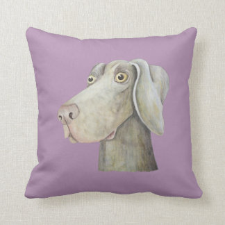 Funny weimaraner dog watercolor painting. throw cushions