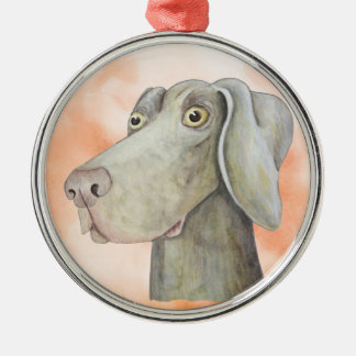 Funny weimaraner painting christmas ornament