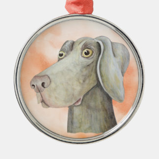 Funny weimaraner painting Silver-Colored round decoration