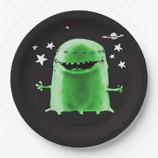 funny weird alien cartoon style illustration 9 inch paper plate