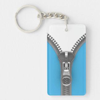 Funny Weird Realistic Blue Zipper Double-Sided Rectangular Acrylic Key Ring