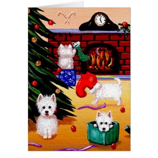 Funny Westie Christian Christmas Art Creationarts Card
