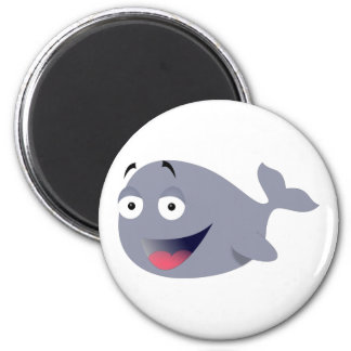funny whale 6 cm round magnet