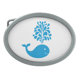 Funny whale oval belt buckle