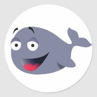 Funny Whale Round Stickers