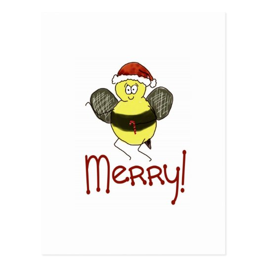 Funny Whimsical Bee Merry Christmas Holiday Postcard