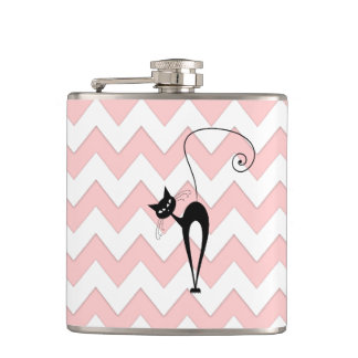 Funny whimsical black cat chevron pale pink hip flask