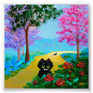 Funny Whimsical Black Cat Flowers Trees Poster