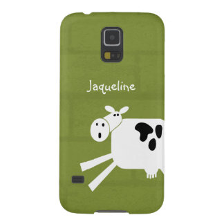 Funny Whimsical Cartoon Cow Custom Name Galaxy S5 Cover