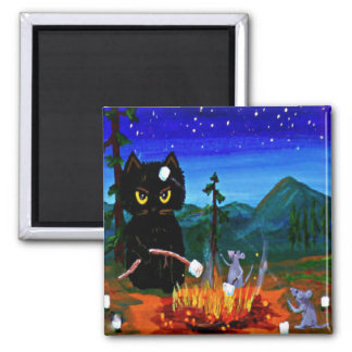 Funny Whimsical Cat Mouse Camp Creationarts Magnet