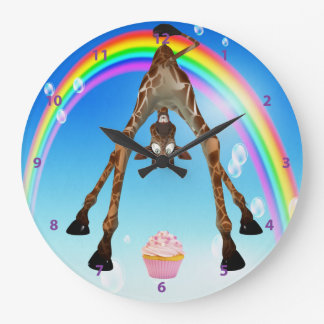 Funny Whimsical Giraffe Cupcake & Rainbow Wallclocks