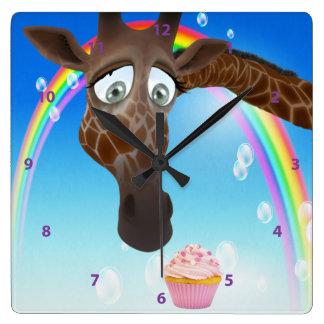 Funny Whimsical Giraffe, Cupcake & Rainbow Clocks