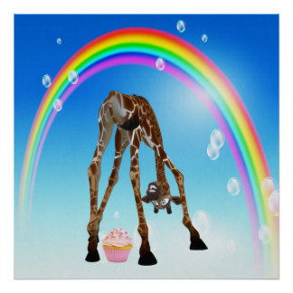 Funny Whimsical Giraffe, Cupcake & Rainbow Print