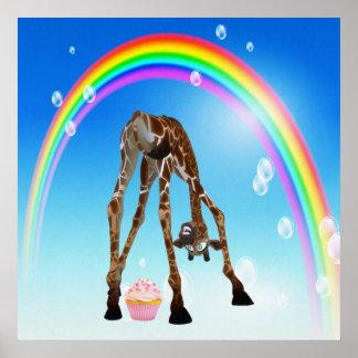 Funny Whimsical Giraffe Cupcake Rainbow Print
